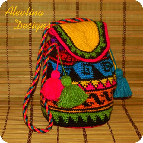 free sewing pattern purse bag tote tapestry shoulder bag crochet tapestry wayuu bag mochila colombian style bag