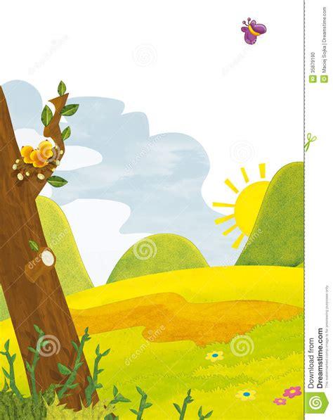 cartoon scenery summer illustration for the children