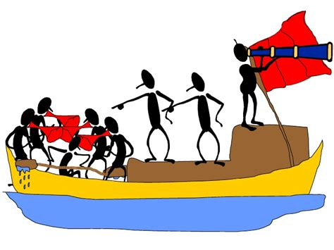 the management rowing race - Cartoon Rowing Boat Management