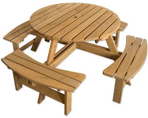 Outdoor 8 Seater Round Bench For Pub Garden Stained Pine Outdoor Pine Furniture