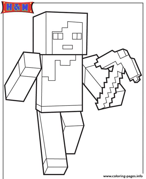 minecraft mask coloring pages minecraft character alex with pickaxe coloring pages printable