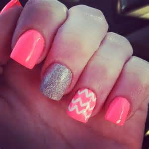 coral color nails neon coral nails chevron glitter nails