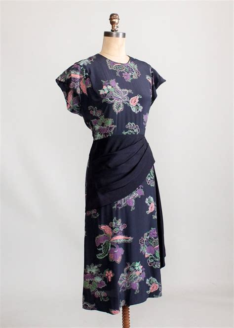 Overall Rayoon vintage 1940s floral rayon dress with swag front skirt raleigh vintage