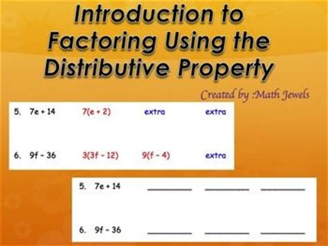 Factoring Using The Distributive Property Worksheet Answers by Introduction To Factoring Using The Distributive Property