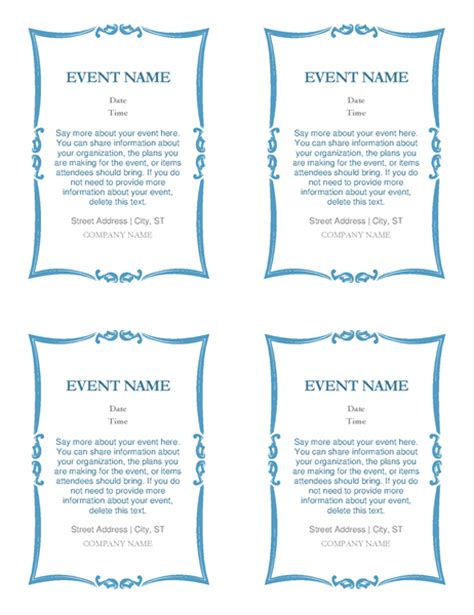 quarter sheet flyer template word event invitations 4 per page office templates