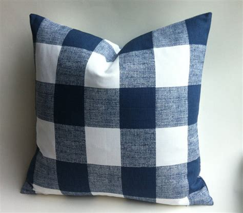 plaid home decor layering block perfect for layering and one dark blue buffalo check zipper pillow cover by pillomatic
