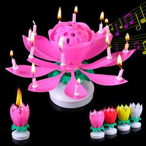 rotating musical lotus flower happy birthday candle lights new 14 petals rotating lotus candle flower cake happy birthday light ebay