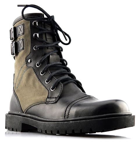 mens new biker style lace up zip ankle high boots