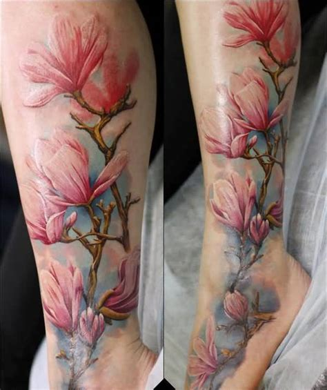 half sleeve watercolor tattoo of different flowers 60 awesome magnolia flower made golfian