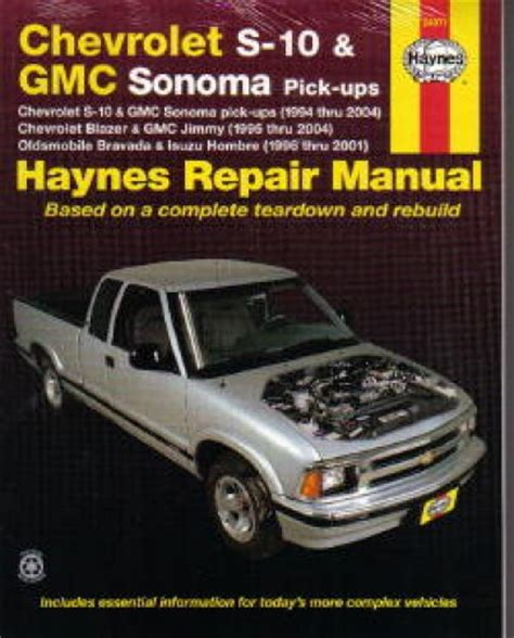 free online auto service manuals 1996 gmc rally wagon g3500 interior lighting chevrolet gmc s 10 sonoma haynes pick up truck repair manual 1994 2004