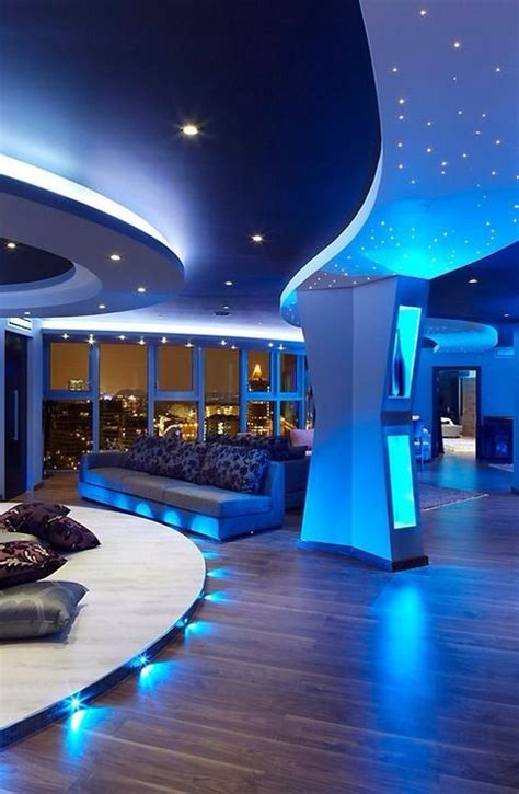 interior gleaming futuristic room with blue led lights also luxury home tumblr image 2018360 by taraa on favim com