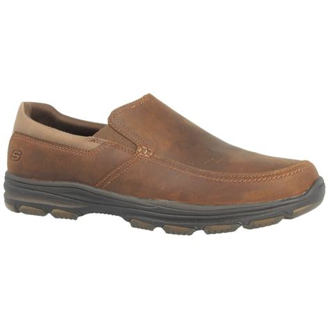 skechers mens slip on shoes in brown for