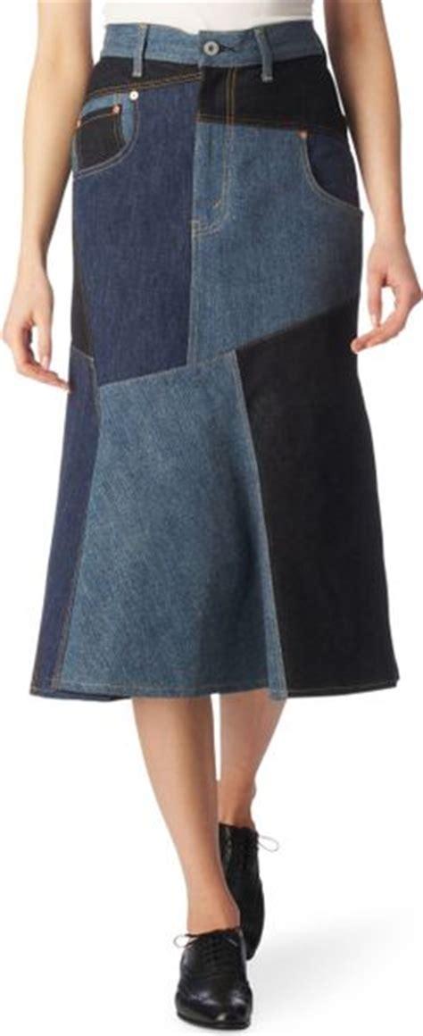 junya watanabe patchwork denim skirt in blue indigo lyst