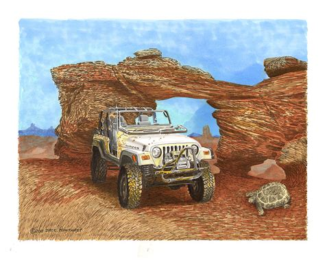 acrylic painting of jeep 2005 jeep rubicon 4 wheeler by pumphrey