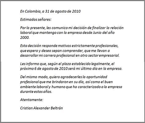 carta de renuncia trabajo ingles carta de renuncia voluntaria de trabajo design bild