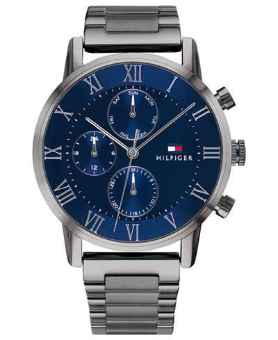 tommy hilfiger mens gunmetal gray bracelet  mm watches jewelry watches macys