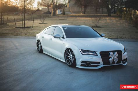 slammed audi slammed audi a7 looks sharp on vossen directional wheels