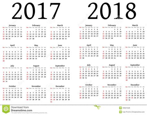 Calendar 2017 And 2018 Vector Calendar For 2017 And 2018 Stock Vector Image Of
