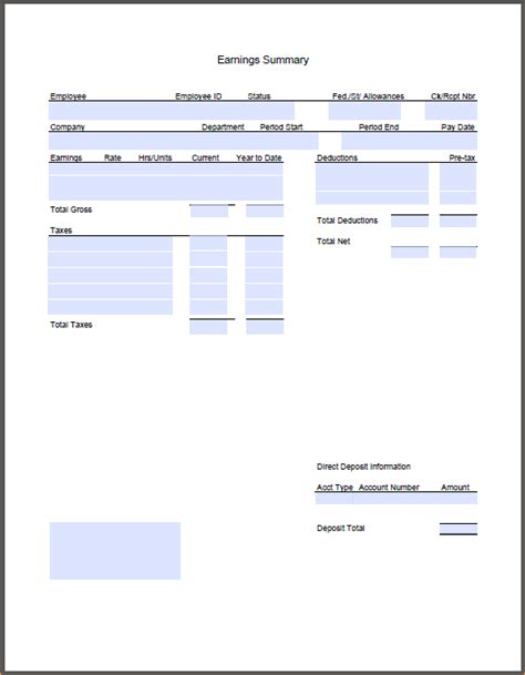 pay stub template ontario choice image templates design