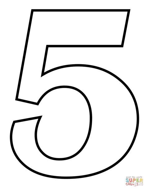 Coloring Page Number 5 by Number 5 Coloring Page Free Printable Coloring Pages