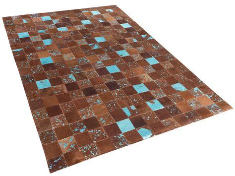teppich braun blau patchwork leder fell l 228 ufer - Teppich Blau Braun