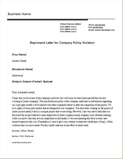Explanation Letter Violating Company Policy Reprimand Letter Sle Templates For Word Document Templates