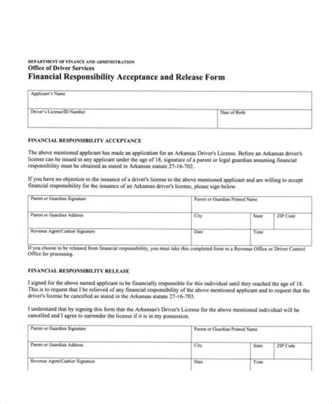 financial release form template sle financial release form 10 exles in word pdf