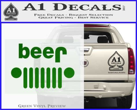 jeep green logo jeep beer decal sticker 187 a1 decals