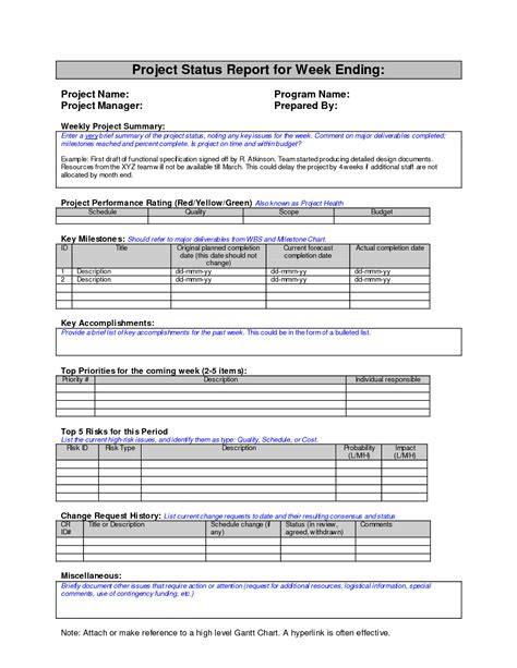 weekly report template doc best photos of project management weekly status reports