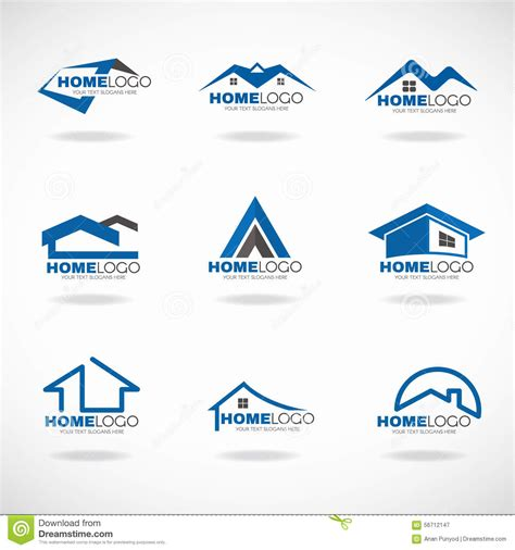 home and design logo blue and gray home logo set vector design stock vector