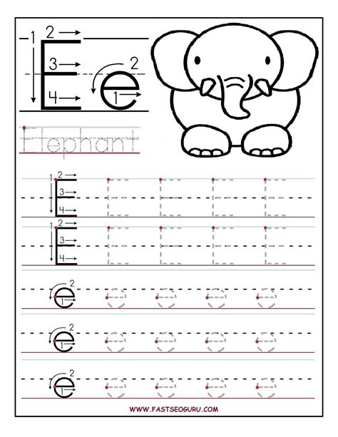 printable alphabet letter e printable letter e tracing worksheets for preschool