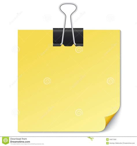 Note Pictures Clip by Yellow Note Paper With Binder Clip On White Stock Photos