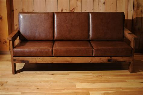 Leather And Wood Sofa Items Similar To Wood Leather Sofa Reclaimed Oak Custom Item On Etsy