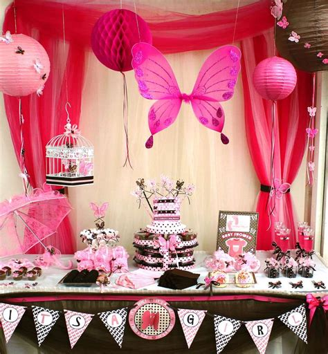 Brown And Pink Butterfly Baby Shower Decorations by Pink And Brown Butterfly Baby Shower Ideas Photo