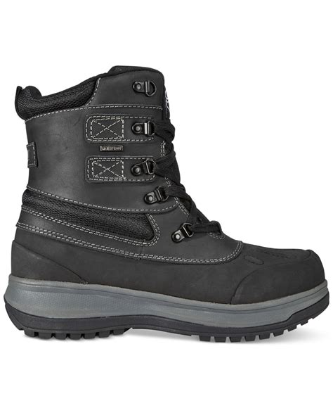 khombu s balance lace up waterproof boot in black for