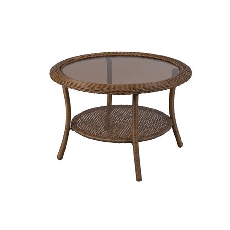 Outdoor Patio Coffee Table Hton Bay 30 In Brown All Weather Wicker Patio Coffee Table 66 20310 The
