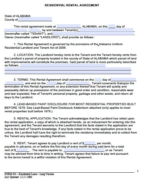 rental agreement lease template free alabama month to month rental agreement pdf template