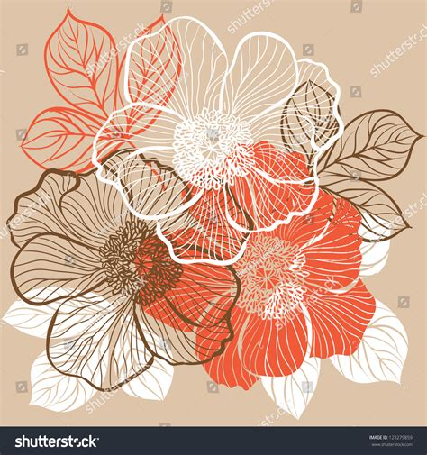 decorative flower decorative floral background with flowers of peony stock vector illustration 123279859