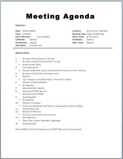 robert of order agenda template of order minutes corporate meeting minutes
