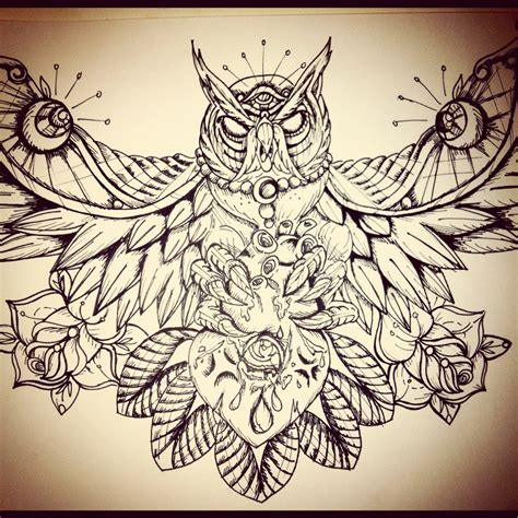 chest tattoo designs drawings owl chest by underlineage designs on deviantart