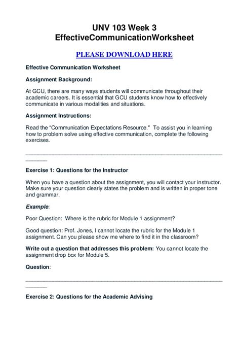 Effective Communication Worksheets Adults by Unv 103 Week 3 Effective Communication Worksheet