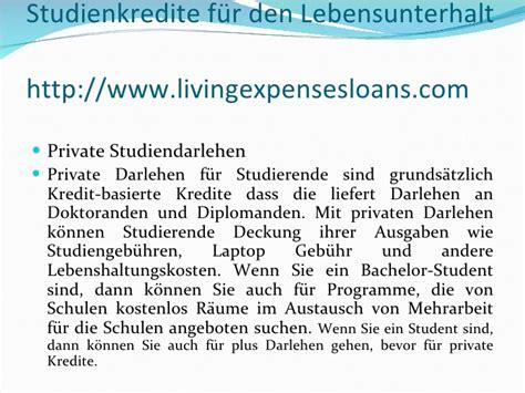 Mba Loans For Living Expenses by Studienkredite F 252 R Den Lebensunterhalt