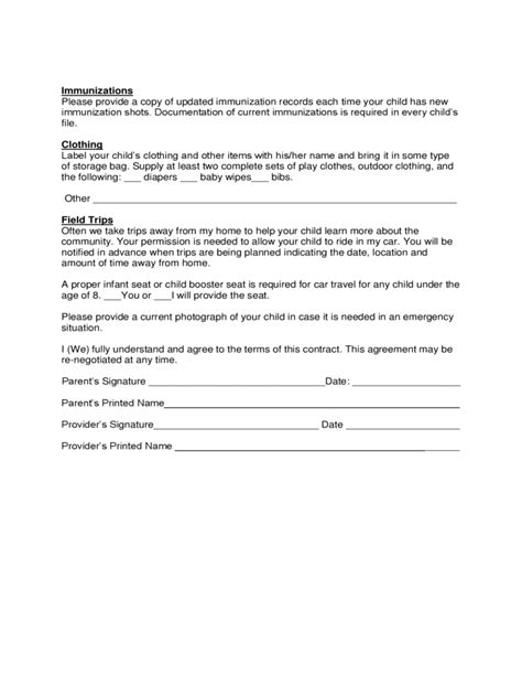 child care contract template sle child care agreement form free
