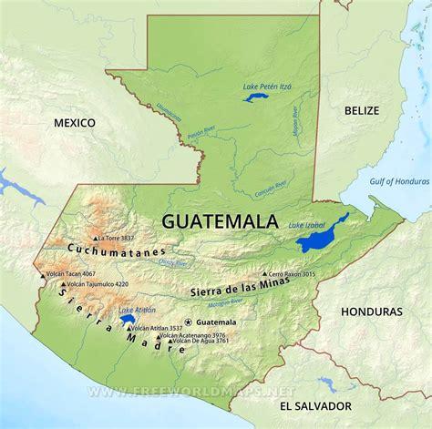 5 themes of geography guatemala guatemala physical map
