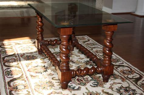 Barley Twist Coffee Table Handmade Barley Twist Glass Top Coffee Table By H Ellzey Custom Woodworking Custommade
