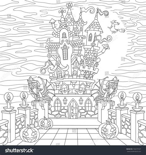 spooky castle coloring page 77 best zentangle designs images on pinterest