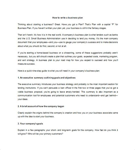 brief business plan template microsoft business plan template 17 free exle