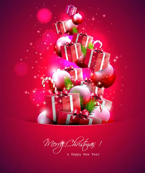 merry christmas gifts collection vector free vector