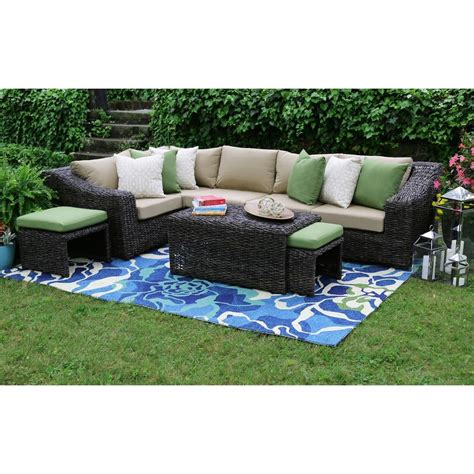 patio sectional set ae outdoor williams 8 piece all weather wicker patio