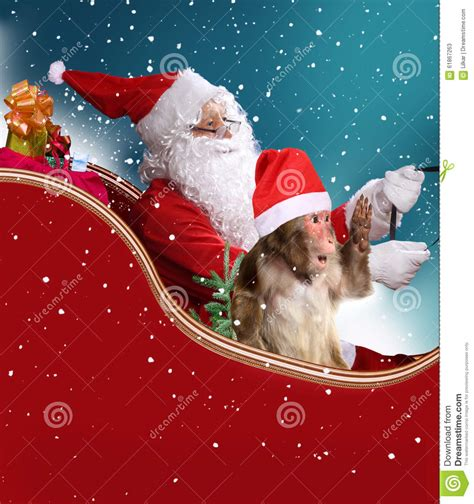 monkey santa santa claus with the monkey stock photo image 61867263